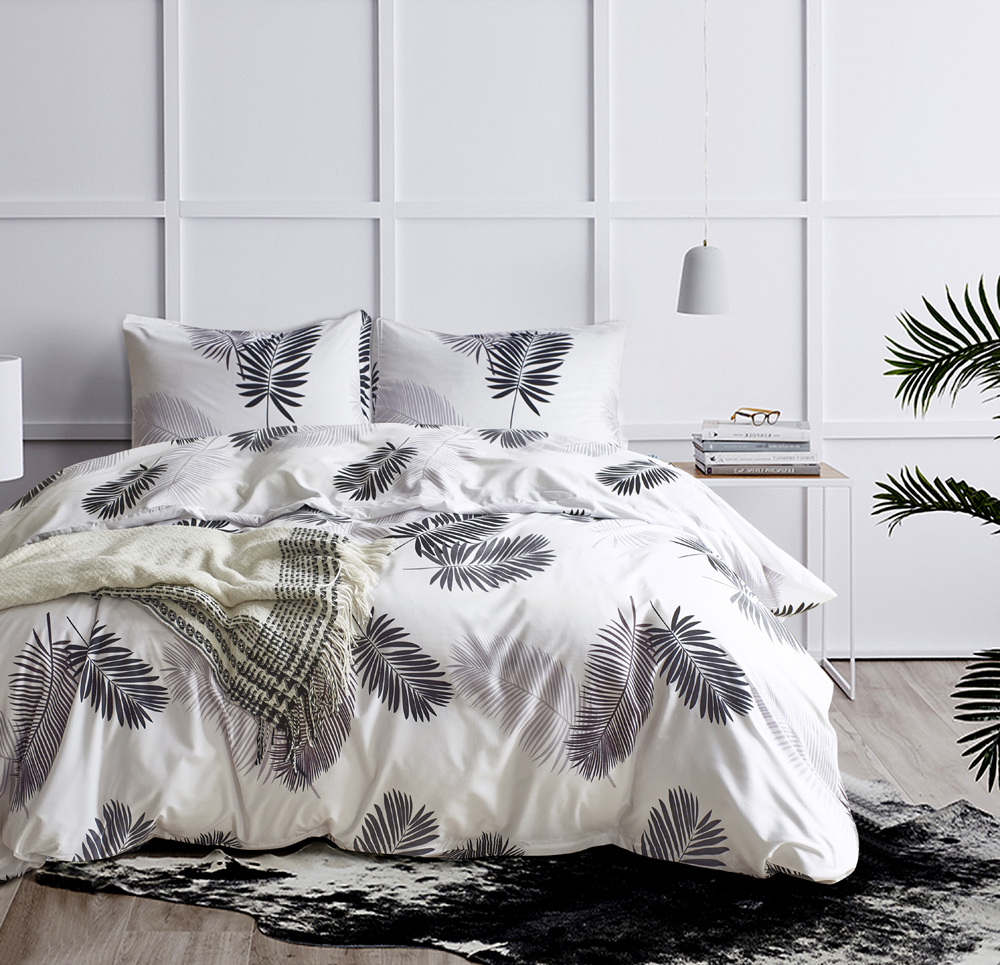 Modern Duvet Details About New Soft Modern Duvet Quilt Cover Pillowcases White Leaves Printed Bedding Sets