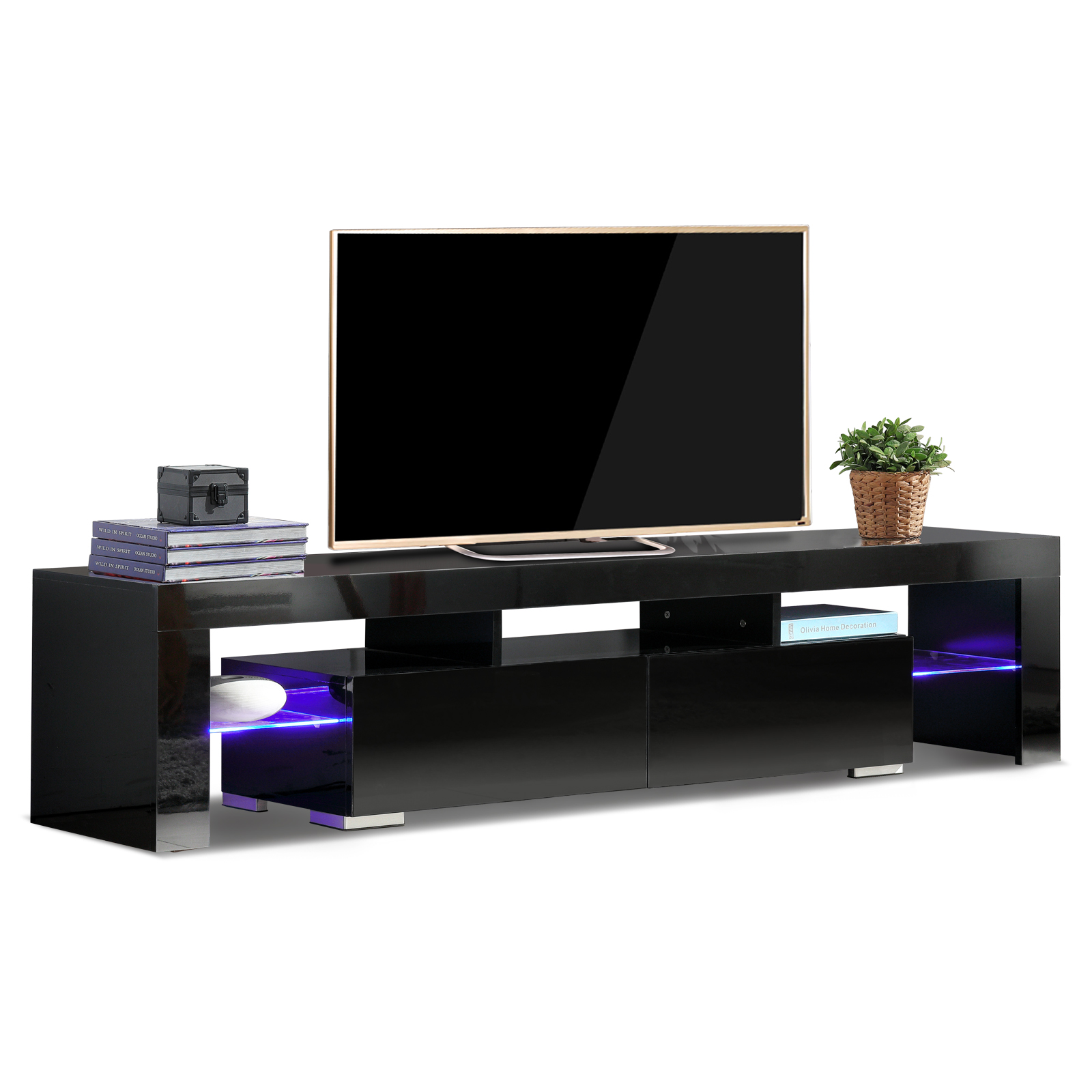Meja Tv Lcd Details About High Gloss Black Tv Cabinet Stand With Rgb Led Light Remote Control 12 Colors