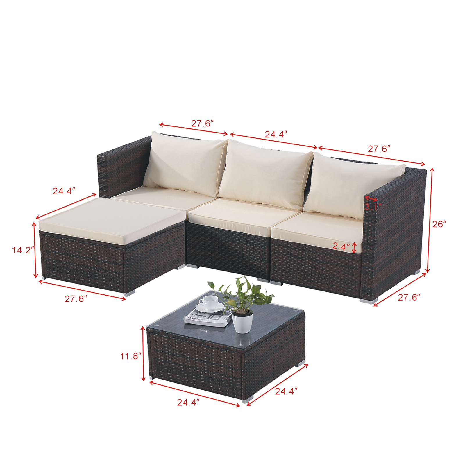 Rattan Twin Sofa Details About 5pc Rattan Wicker Sofa Set Sectional Cushioned Furniture Patio Outdoor Brown