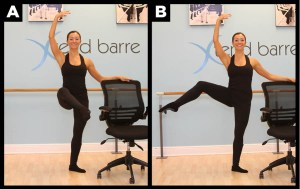 Woman demonstrates ballet moves.