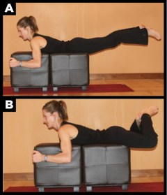 Woman showing how to do the frog exercise.