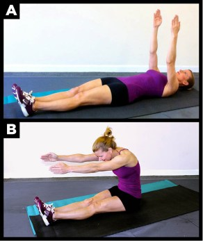 A great abdominal exercise is the Pilates Roll-up.