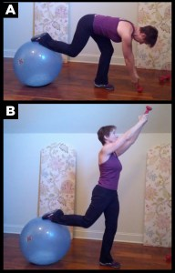 Woman exercising with leg lunge workout.