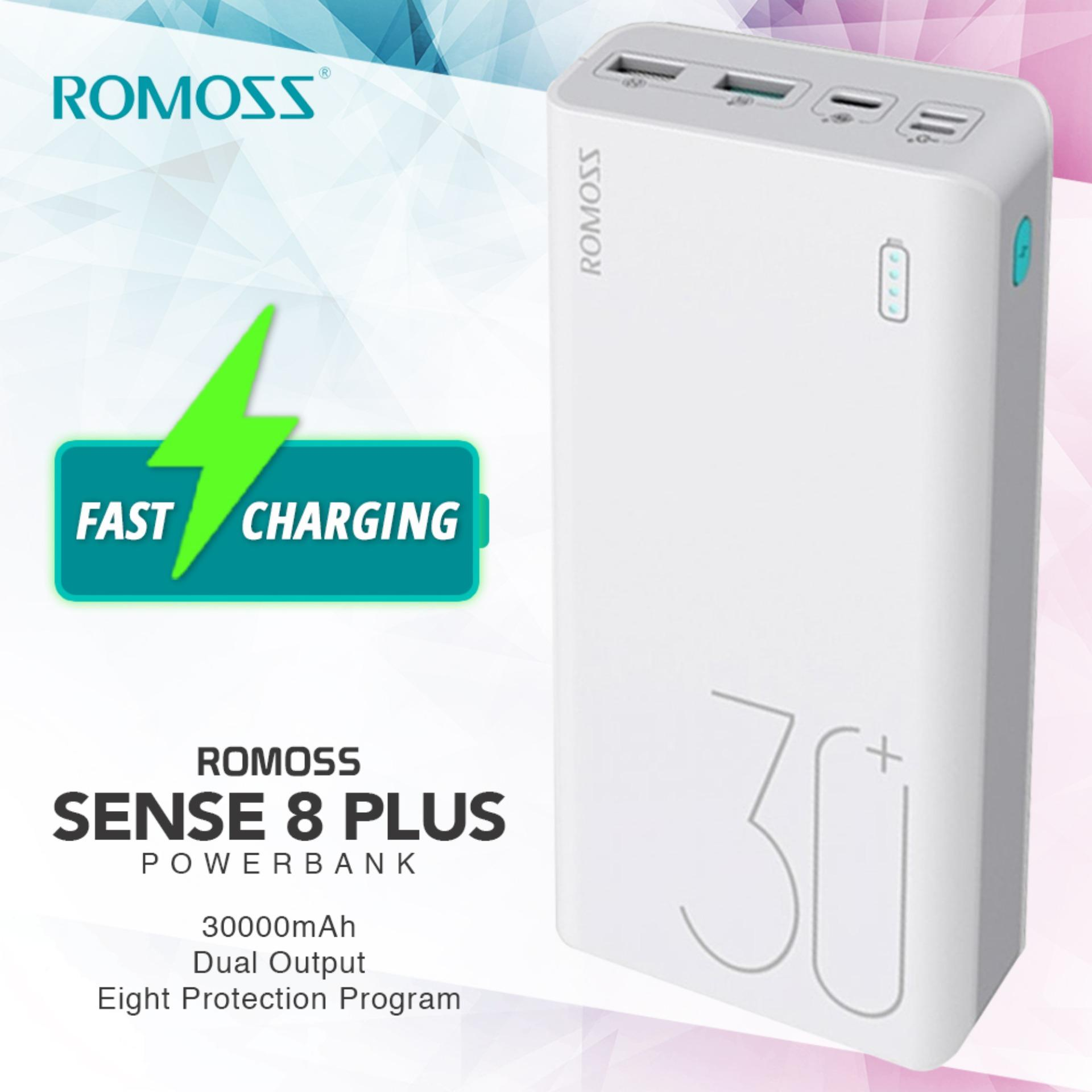Diy Power Bank Ac Romoss Sense 8 Plus Fast Charging 30000 Mah Qc3 Type C Powerbank White