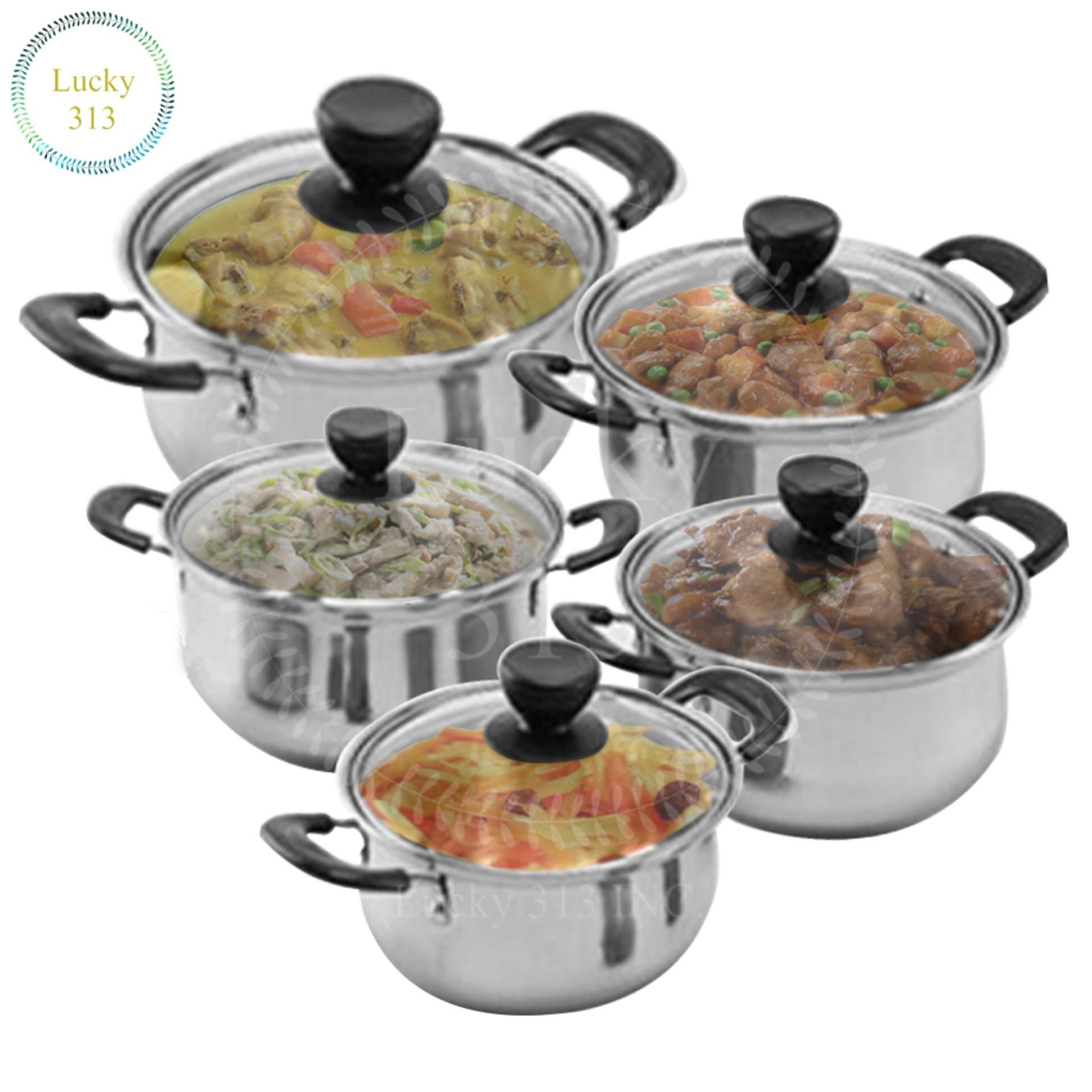 Big W Stock Pot Stainless Steel Cookware Stockpot Sets 5pcs Glass Cover
