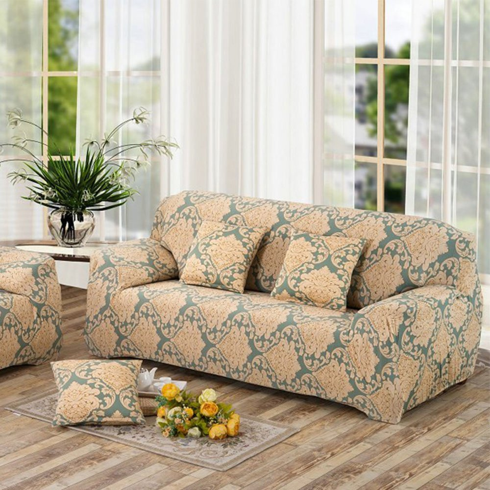 Fitted Slipcovers Couches 3 Seater Flower Fit Stretch Sofa Slipcover Couch Damask Fabric Protector Set Intl
