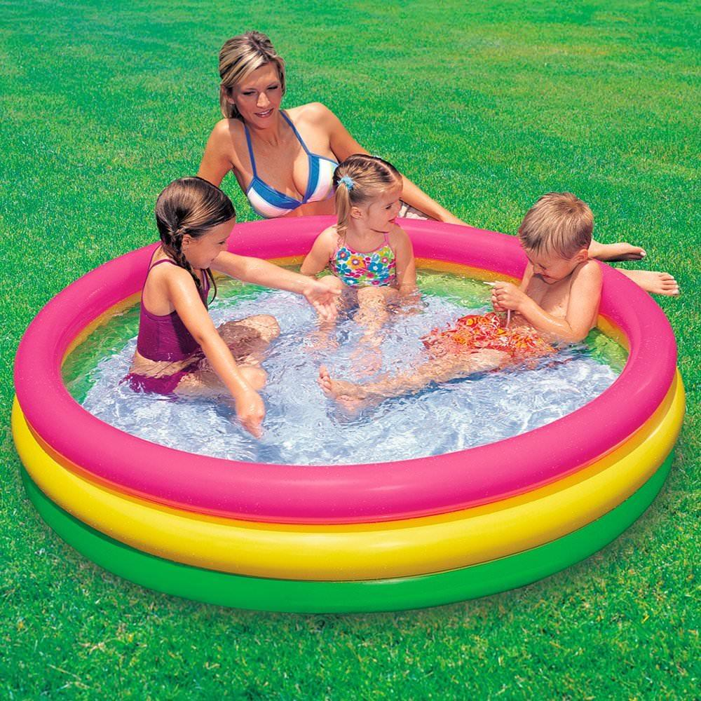 Jilong Pool Reinigungsset Intex 3 Ring Inflatable Outdoor Swimming Pool Meduim 114cm X 25cm