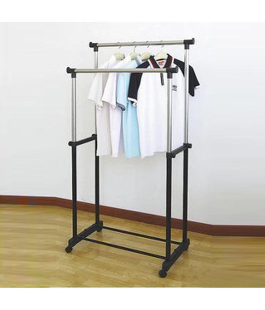 Cloth Hanger Stand Double Pole Telescopic Laundry Hanger Cloth Drying Stand
