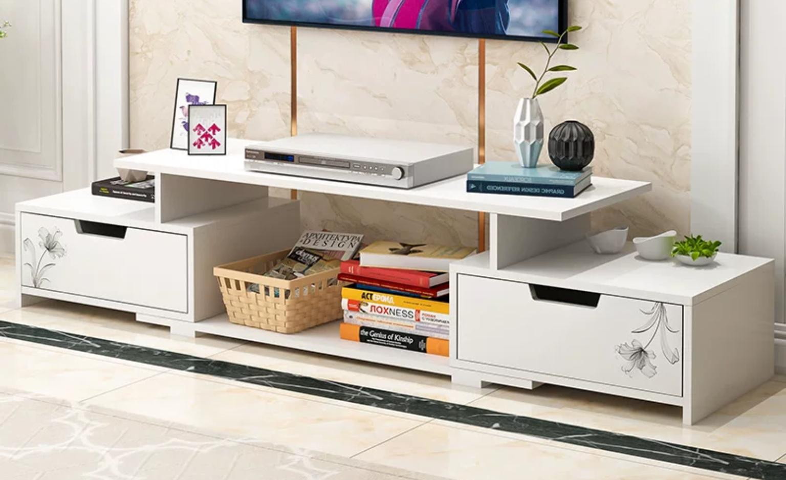 Hifi Rack Design Tv Stand Wood F07 White Brown