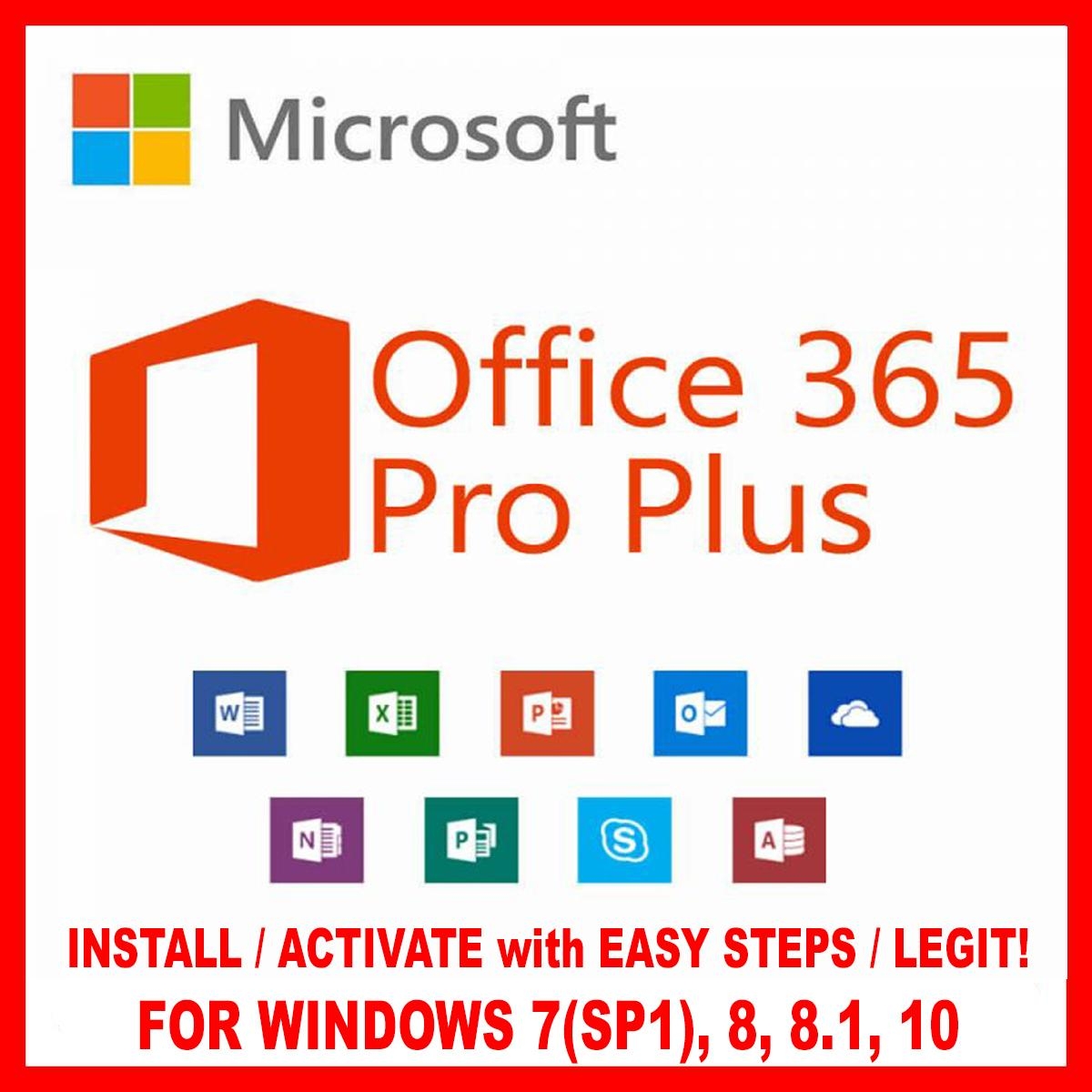 Microsoft Office Windows 7 Ms Microsoft Office 365 Pro Plus With 2019 Updates Word Excel Powerpoint Etc For Windows 10 8 1 8 7 Service Pack 1 Installer Comes With