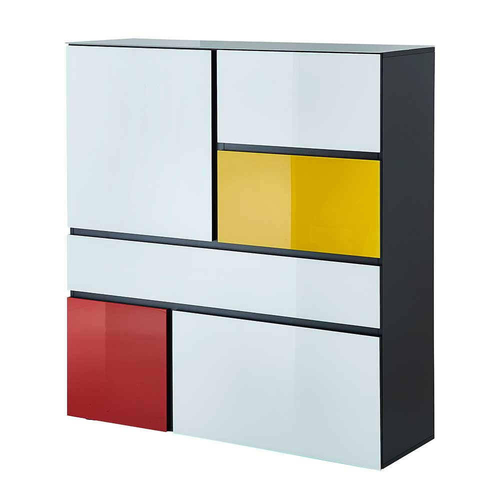 Highboard 120 Cm Breit Design Highboard Yulandra In Weiß Bunt 120 Cm Breit