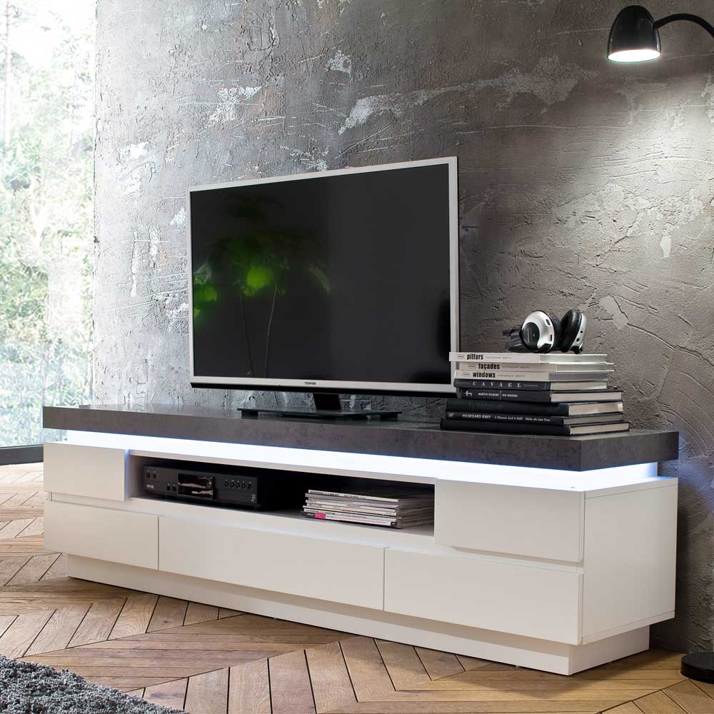 Sideboard Tv Weiss Design Lowboard Croscon In Weiß Grau Mit Led Beleuchtung