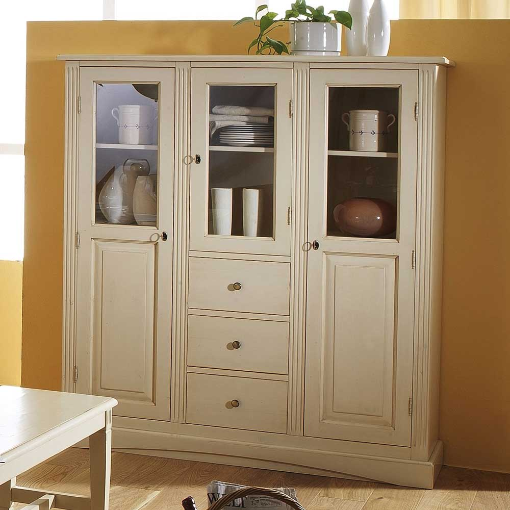 Fichte Highboard Drojan In Creme Im Landhausstil Pharao24 De