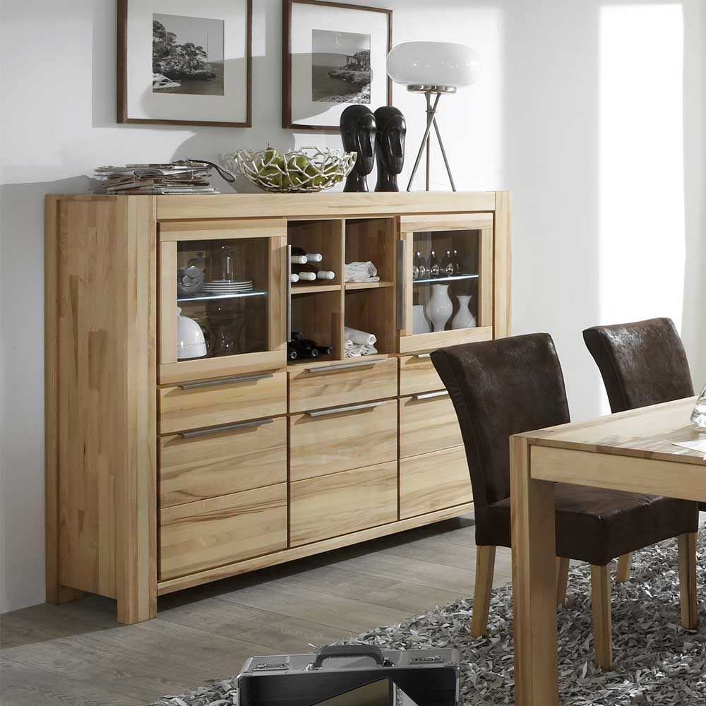 Küchentisch Holz Massiv Kernbuche Highboard Mamaia In Modernem Design | Pharao24.de