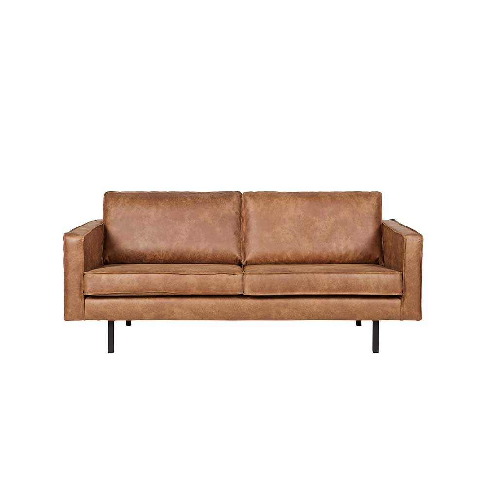 Polsterhocker In Leder Recycling Leder Sofa Ulada In Cognac Braun Modern