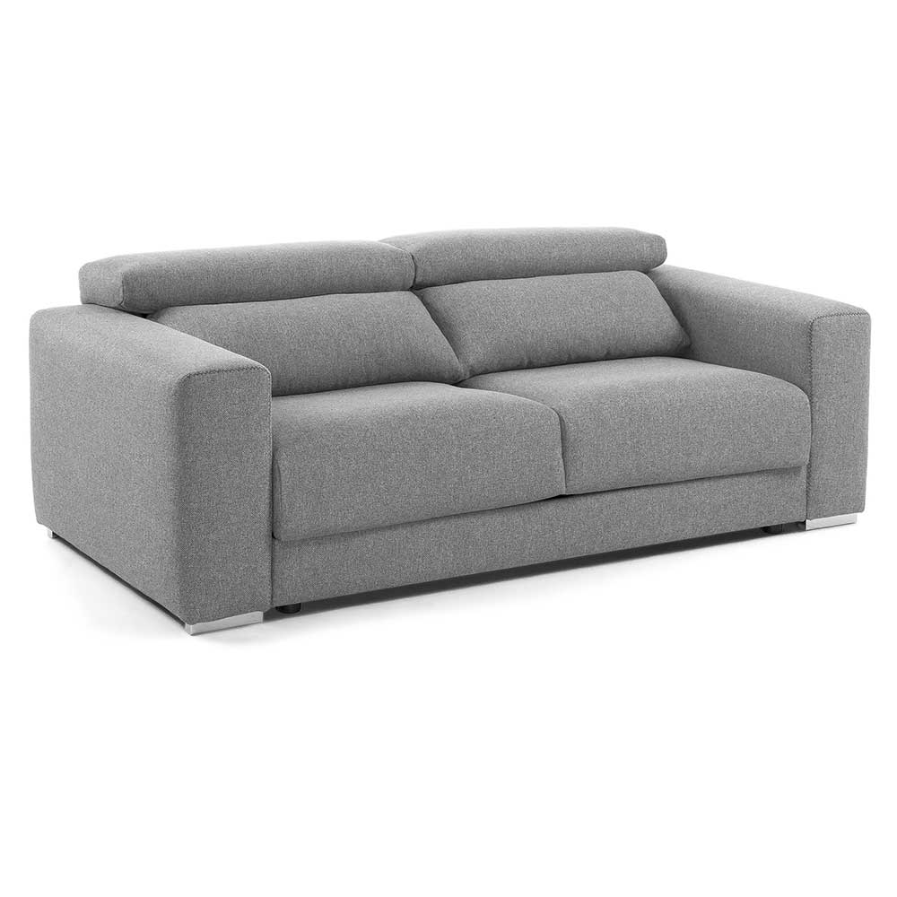 Skandi Design Zweisitzer Sofa That mit Relaxfunktion in Hellgrau Webstoff