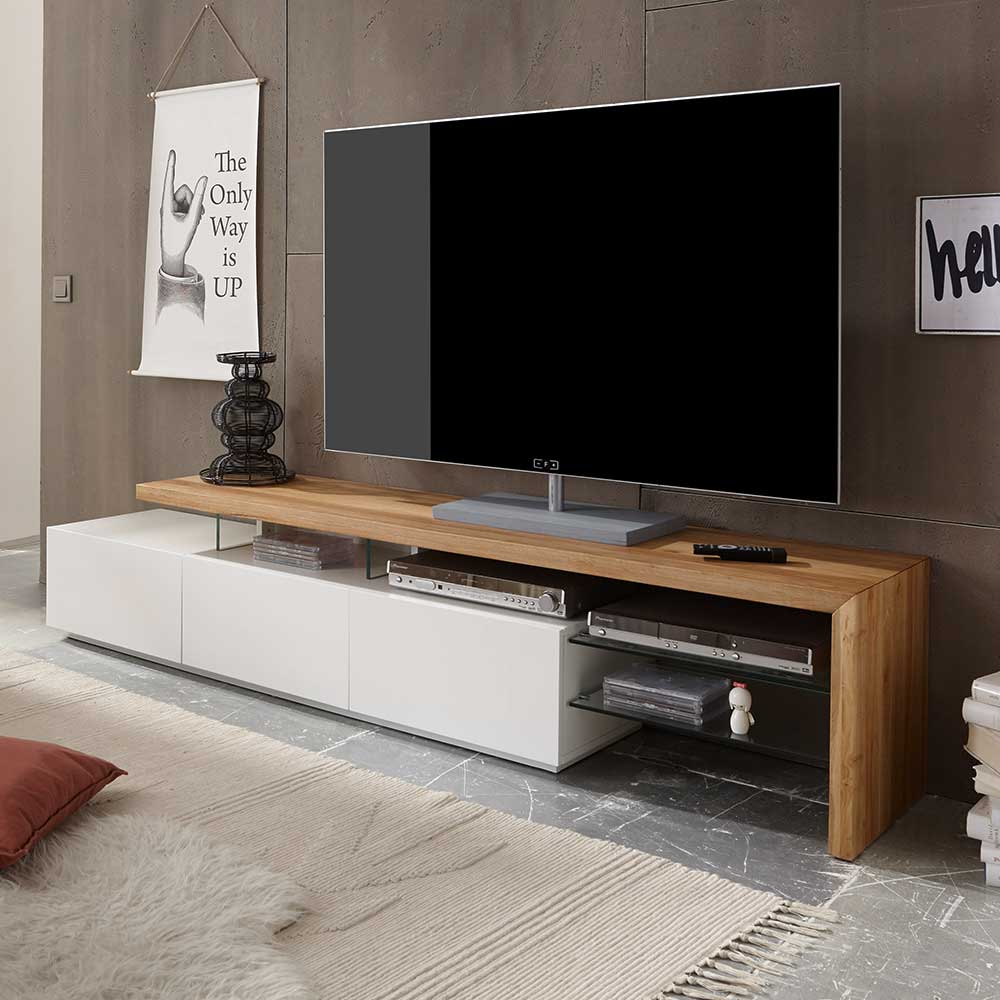 Tv Board Holz Tv Board Sydney In Weiß Mit Eiche Massivholz | Pharao24.de
