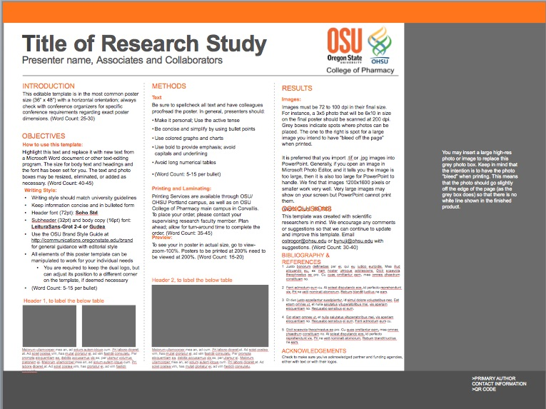 Templates College of Pharmacy Oregon State University - microsoft poster template