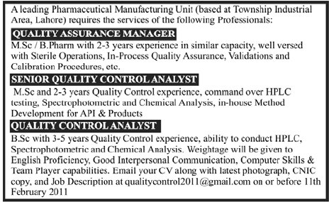 Quality Assurance Manage, Senior Quality Control Analyst and Quality