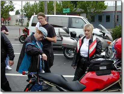 Kathy and Barb inspect the Ducati