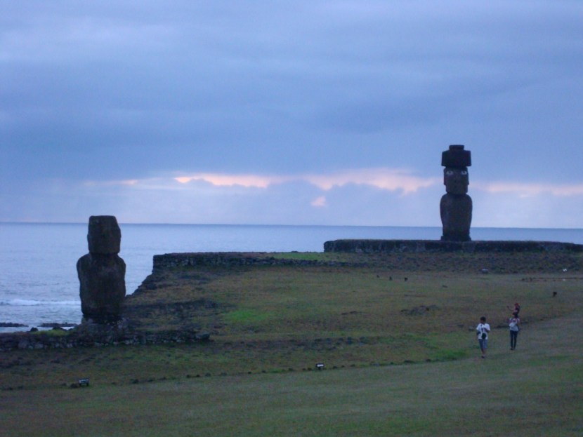 Moai at Sunset on Easter Island Hanga Roa