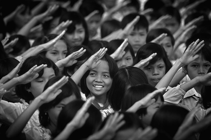 VIET NAM. Children commemorating the end of the war in a celebration near Ho Chi Minh City.