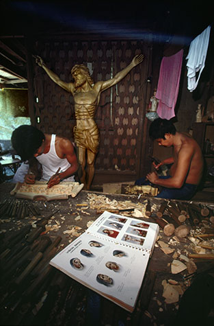 PHILIPPINES. Religion in the Philippines. A workshop where religious icons are produced. 1981.