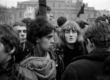 CND supporters at a rally in Trafalgar Square. London. England. 1964.