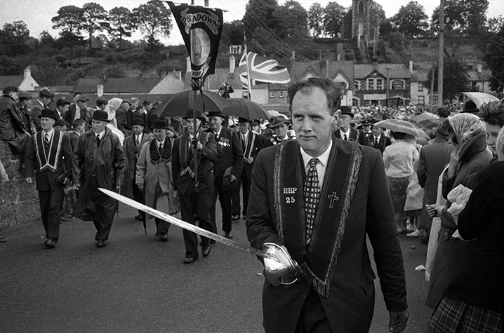 Protestants love parades and this one in the village of Scarva was no exception.  Northern Ireland. 1965