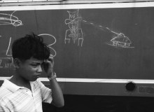 CAMBODIA. Battambang. 1992. Drawing on the side of a train.