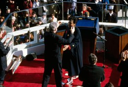 USA. January 20, 1993. Washington D.C. Maya ANGELOU and Bill CLINTON at his inauguration.