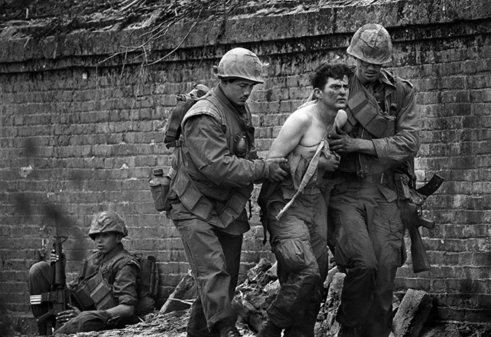 VIETNAM. Hue. US Marines inside the citadel in Hue during the Tet offensive. 1968