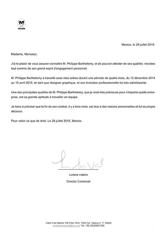 Philippe Barthelemy Lettre de recommandation Mecanico Jeans