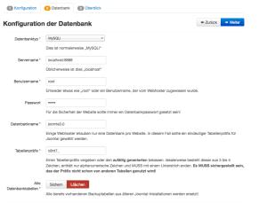 Werte für die Datenbank in Joomla 3