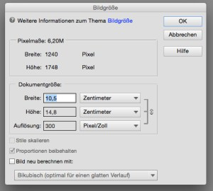 Bildgrößen-Dialog in Photoshop Elements