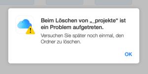 Probleme beim Löschen von Ordnern in der iCloud