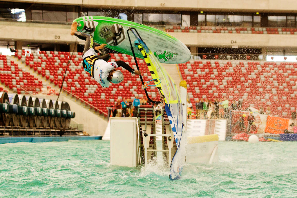 Jump ramp crash - Phil Soltysiak CAN 9 Windsurfing at PWA Indoor Stadion Narodowy, Warsaw, Poland. Photo by John Carter.