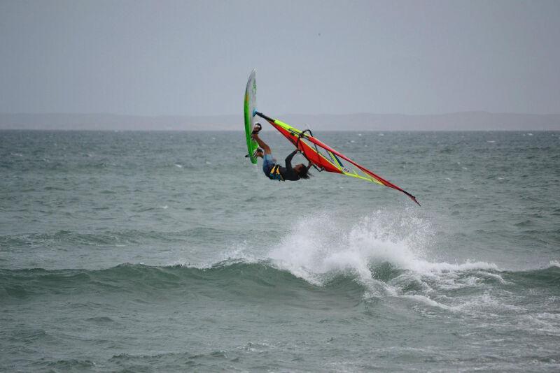 Upwind ramp Phil Soltysiak backloop on Isla Margarita, Venezuela. Photo by Adam Wojtkowiak.