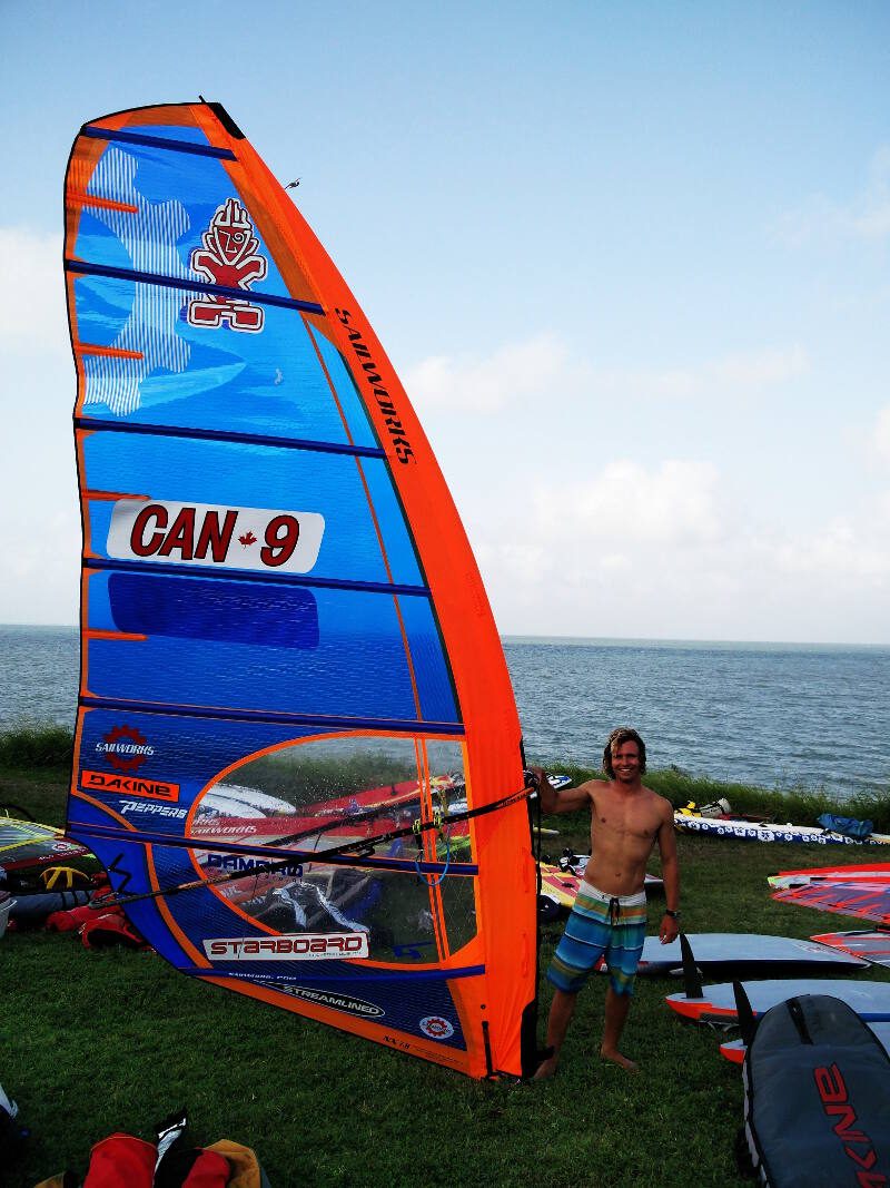 Stoked after the first day of racing at the 2016 US Windsurfing Nationals in Corpus Christi Texas_webready