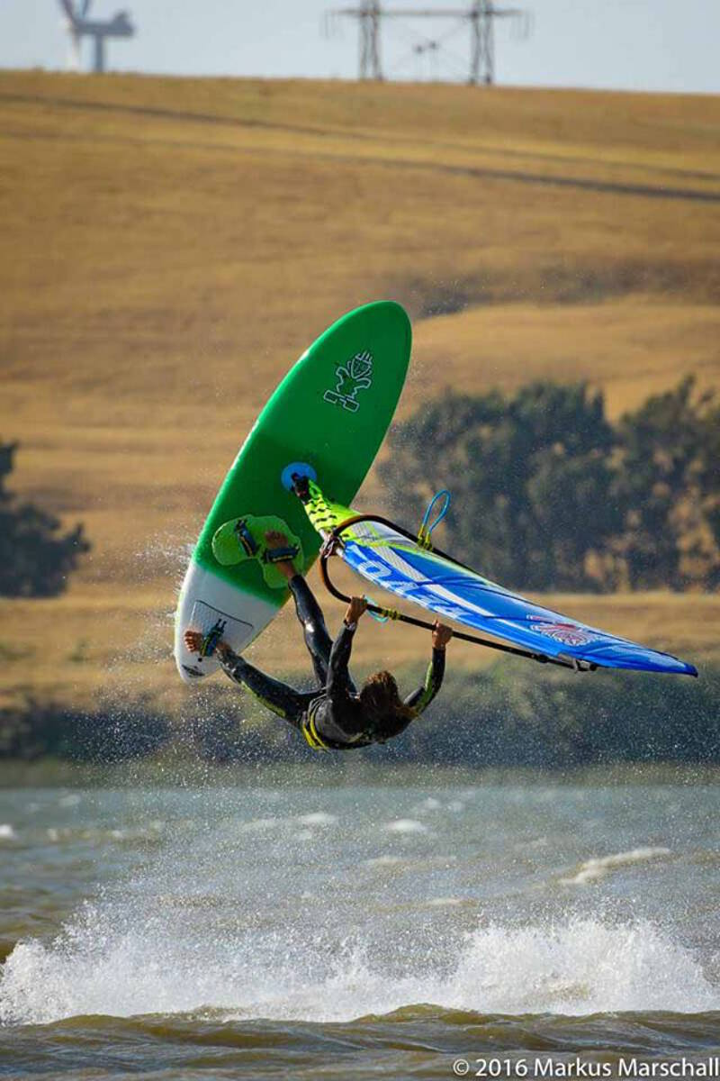 Philip Soltysiak CAN 9 taking off at Rio Vista on the Flare 93 and Revo 4.5 - Photo by Markus Marschall