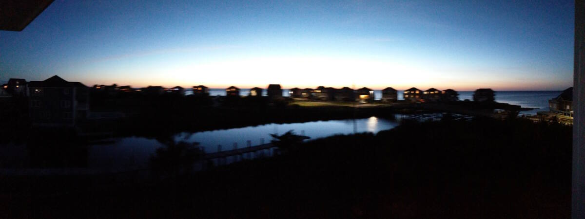 Evening light view from our balcony overlooking Pamlico Sound in Avon, Hatteras, North Carolina