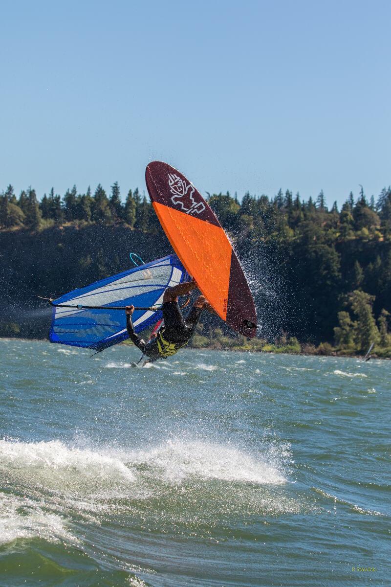 Phil Soltysiak windsurfing kono at the hatchery - Photo by Bob Stawicki