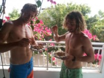 Eating açai on the balcony with Steven.