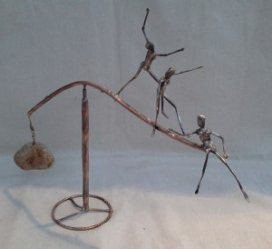 Kinetic Sculpture-GIRLS NIGHT OUT 12-2016 Phill Evans-Forged Bronze-Stone H-18 Dia-30in