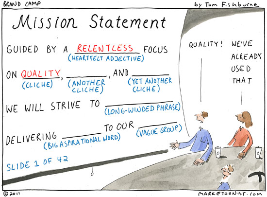 Why do organizations create mediocre mission statements? Where is