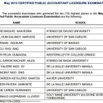 CPA Board Exam May 2013 Top 10 Passers