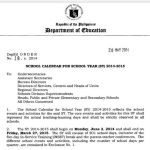 DepEd Released SY 2014-2015 Schedules (Press Release)