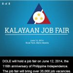 DOLE June 12, 2014 Kalayaan Job Fair to be Held in Metro Manila (Details)