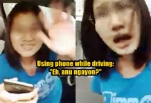 female driver using cellphone