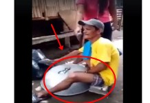 Man Singing Using A Plastic Container And A Giant Pan Went Viral